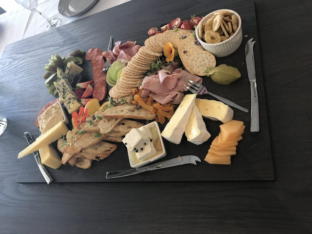 Cheese and crackers on board