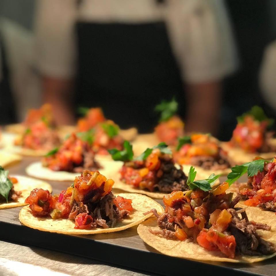 Brisket taco with blur background