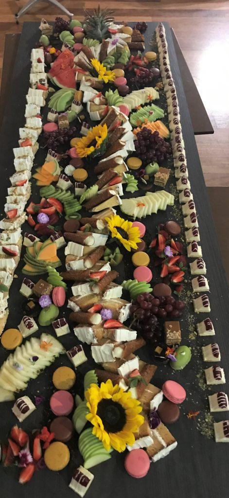 Cake platter on board