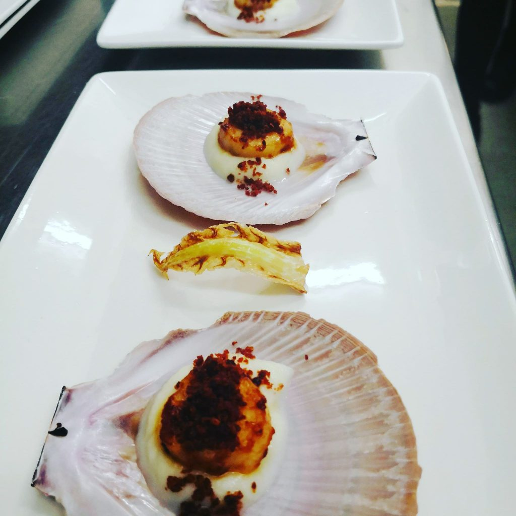Scallop with shell on the plate